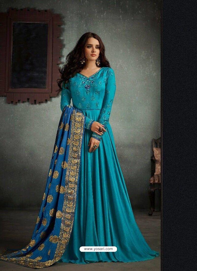64de4002b6 Ordinary Blue Designer Rayon Cotton Anarkali Suit Anarkali Gown, Anarkali  Suits, Cotton Anarkali,