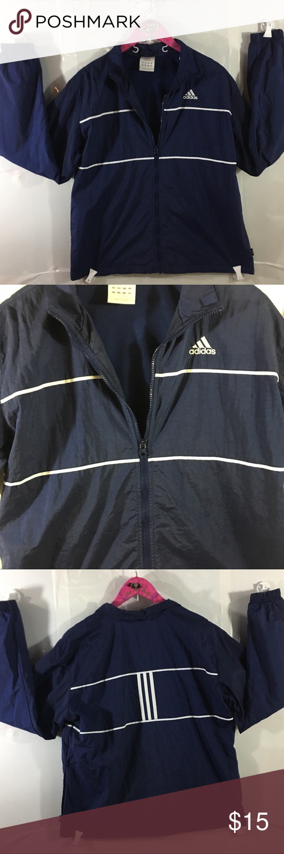 649541ad23ce Women s ADIDAS Vintage Track Jacket Women s ADIDAS Vintage Track Jacket in  the color navy blue with white stripes and has a Zip front it is the kind  that ...