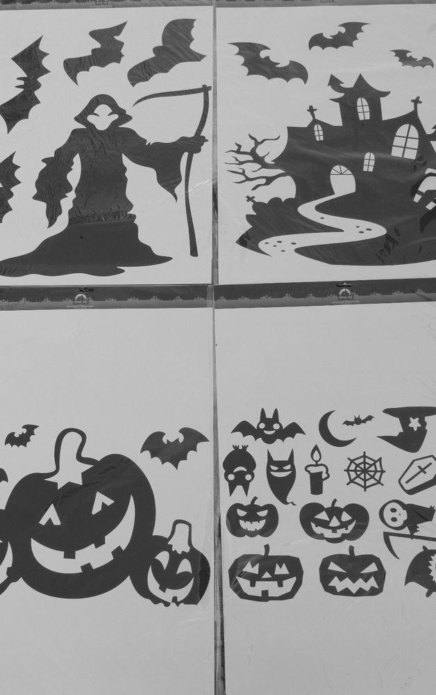 halloween window wall decals clings jumbo black - Halloween Window Decals