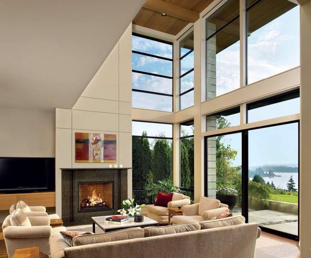 techo de doble altura casa casa minimalista sala