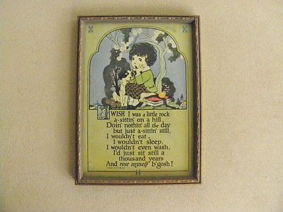1925 Picture of Girl w/Dog Sitting on a Hill w/Poem Below- Signed A Buzza Motto