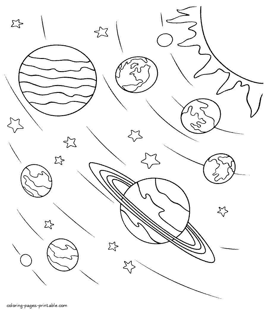 3 Preschool Worksheets Space Space coloring pages in 2020