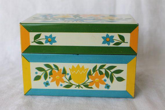 Decorative Recipe Box Vintage Metal Recipe Box File 1960S Floral Designretroflower