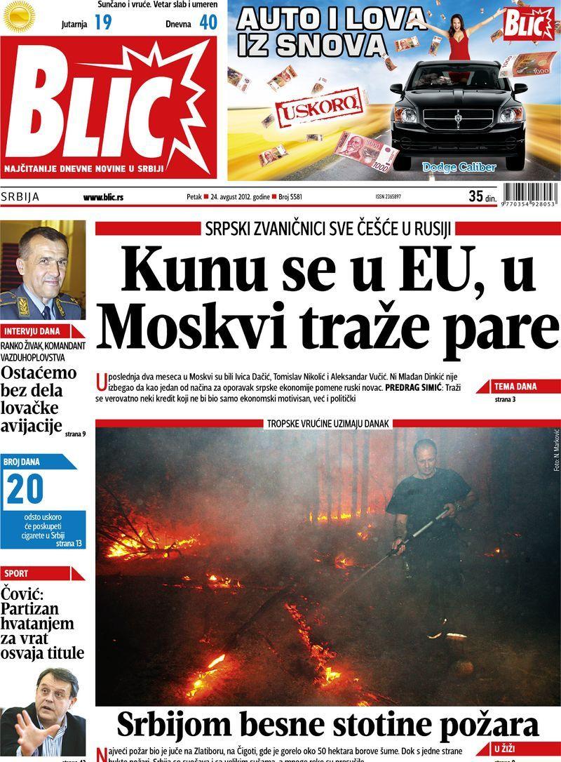 "Naslovna strana ""Blica"" za 24. avgust 2012. Playbill, Data"
