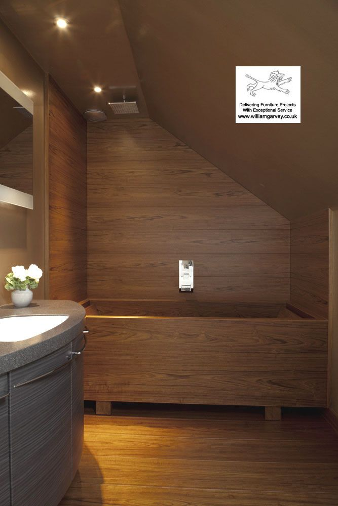 Teak Wood Shower Walls