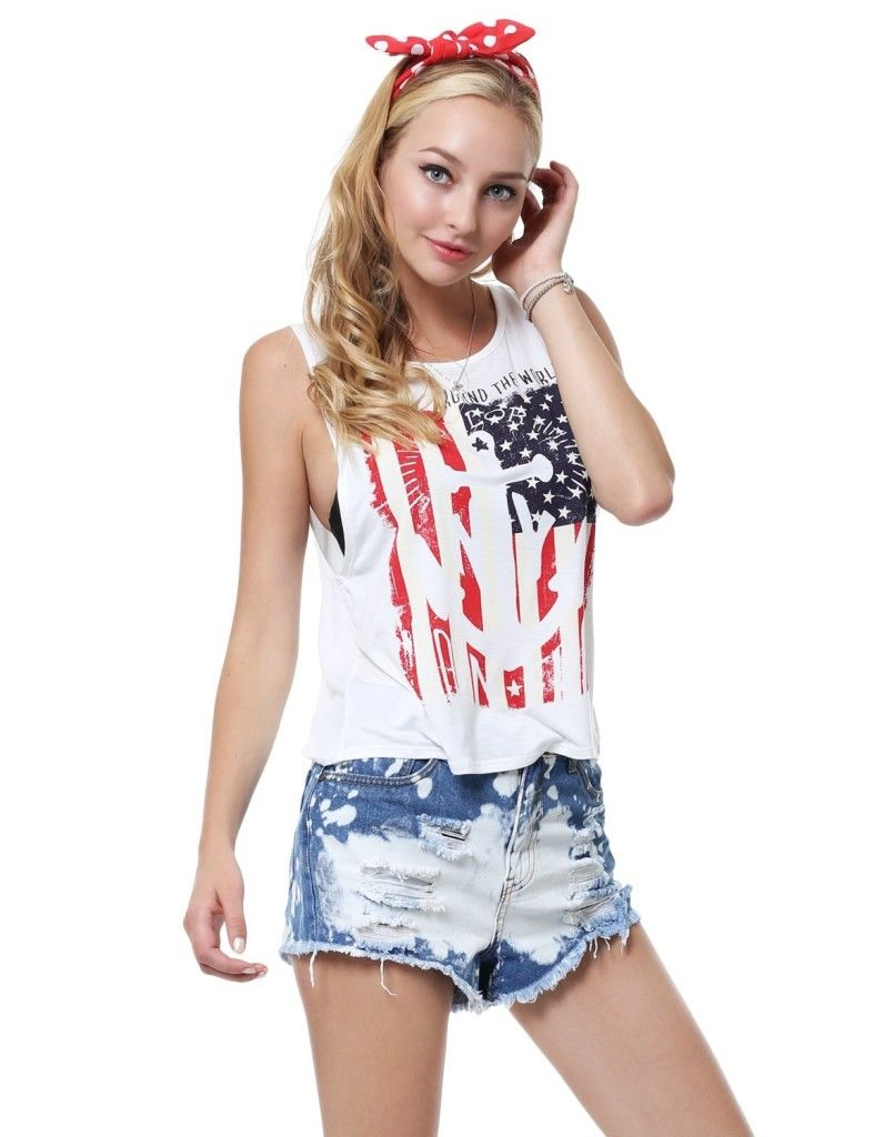 8a1858b3bd3 4th of July Women s Clothing with Patriotic Prints - 11 FOXY Womens Anchor  American Flag Printed Muscle Tank Top - Color  AWTTK0186 Ivory