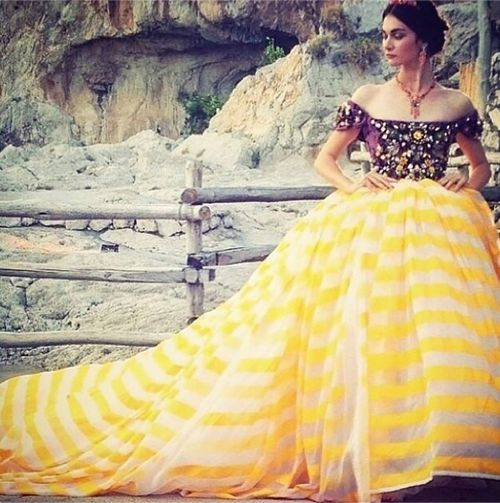 Royal queen ball-gown style in bright yellow summer striped print at Dolce and Gabbana Alta Moda Fall Winter 2014 #Couture #AltaModa