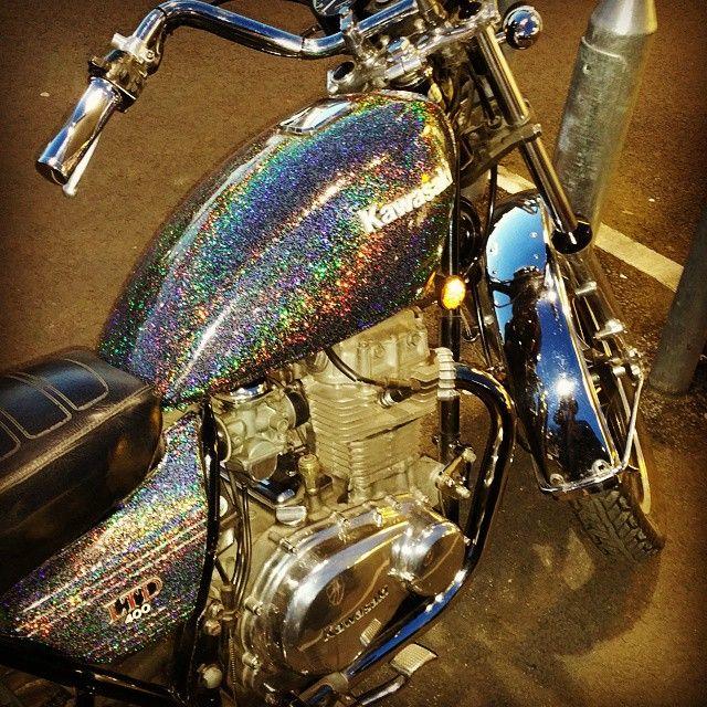 Motorbike Motorcycle Kawasaki Chrome Glitter Iridescent Bike