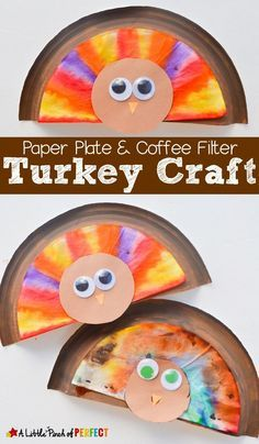 paper plate coffee filter thanksgiving turkey craft for kids