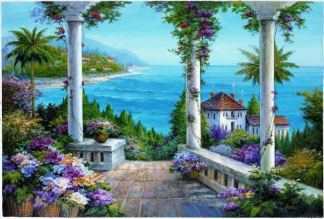 Floral Patio Trompe L\u0027oeil Murals Trompe L\u0027oeil Pinterest