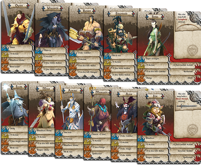 Massive Darkness Survivor Id Cards Stats Depicted Are