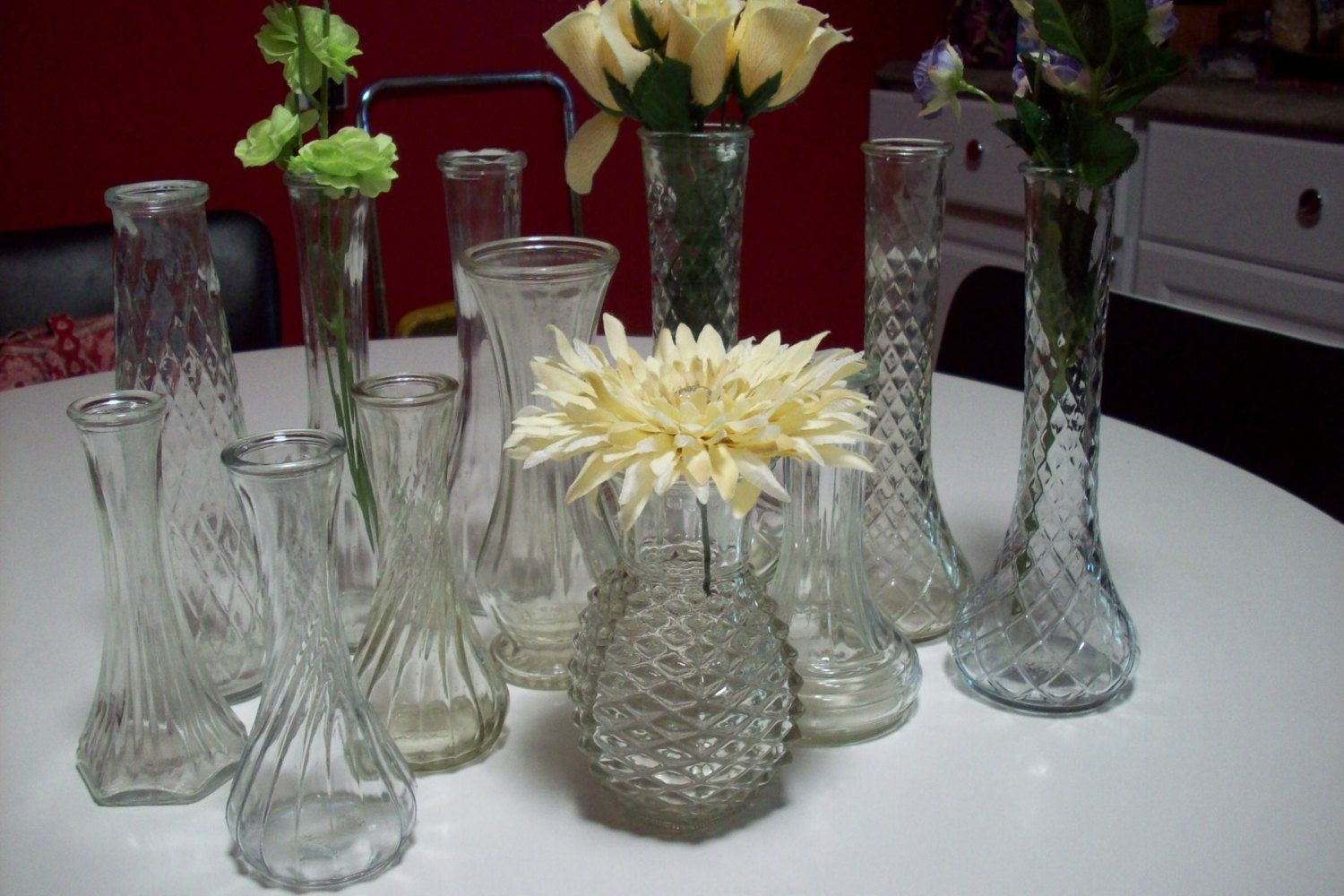Clear glass vase set vintage bud vase collection set of 12 clear glass vase set vintage bud vase collection set of 12 wedding centerpiece table decor anchor hocking large hobnail vase by upcycledcottag reviewsmspy