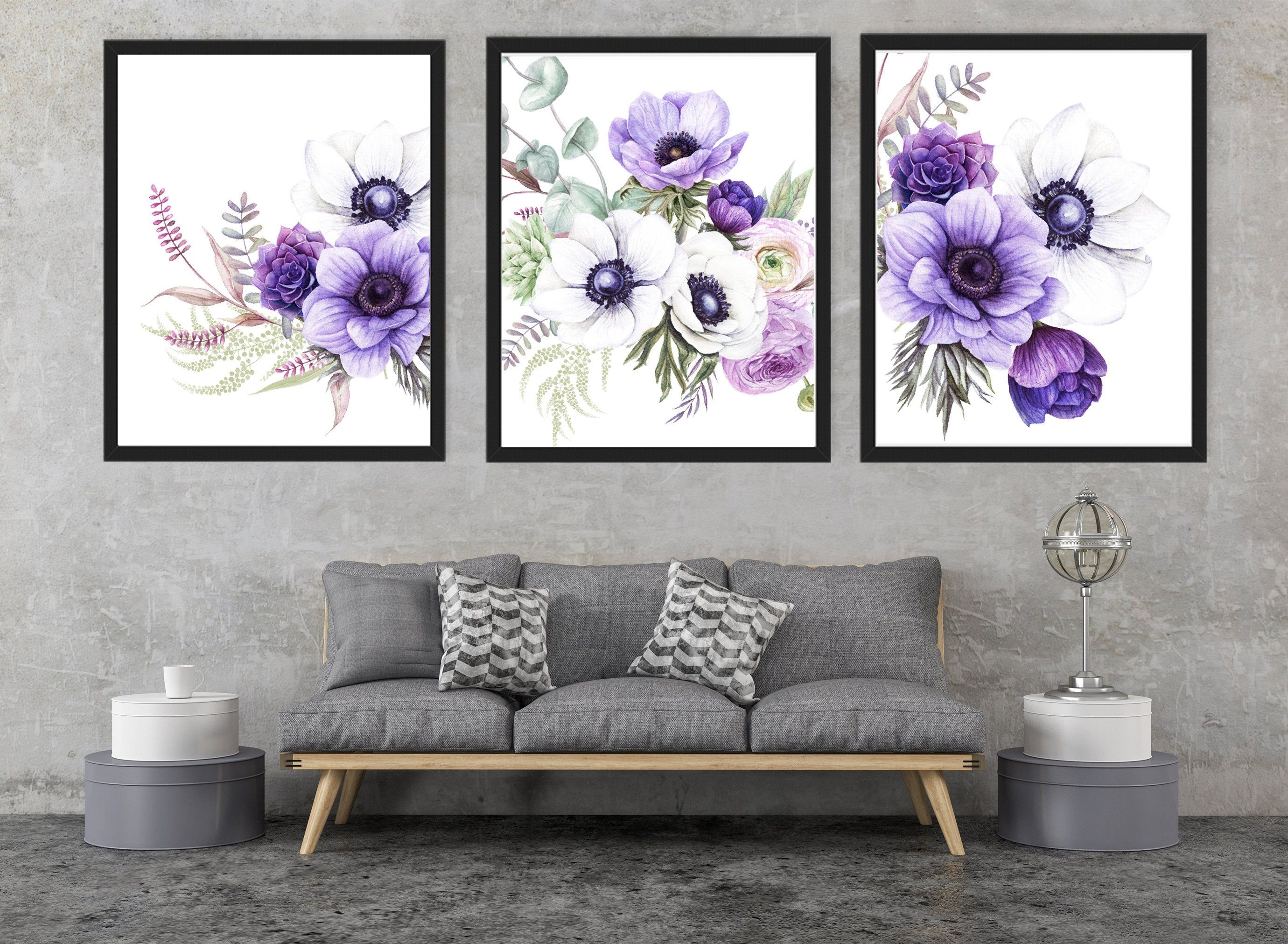 White Anemones Print Purple Floral Print Botanical Print Etsy In 2020 Purple Wall Decor Flower Wall Art Flower Wall