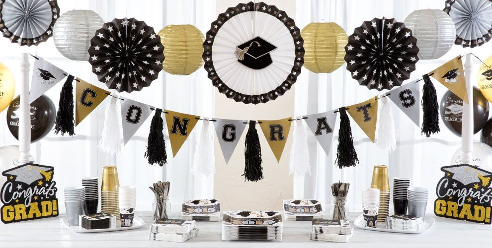 Black Gold Silver Graduation Party Supplies Black And Gold