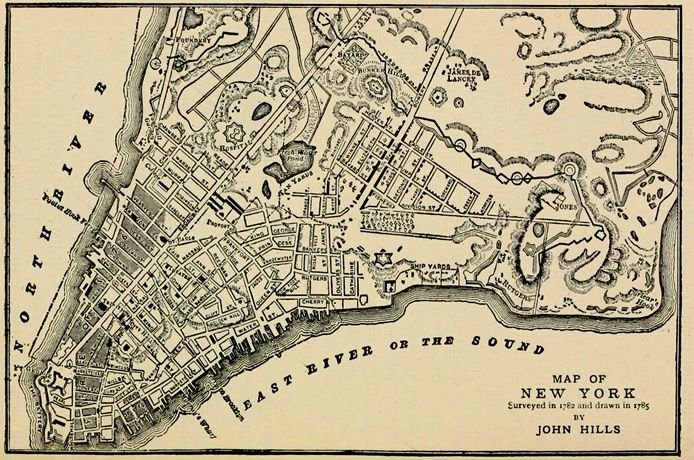 Lower East Side New York Map.John Hills Map 1785 Bowery Maps Pinterest