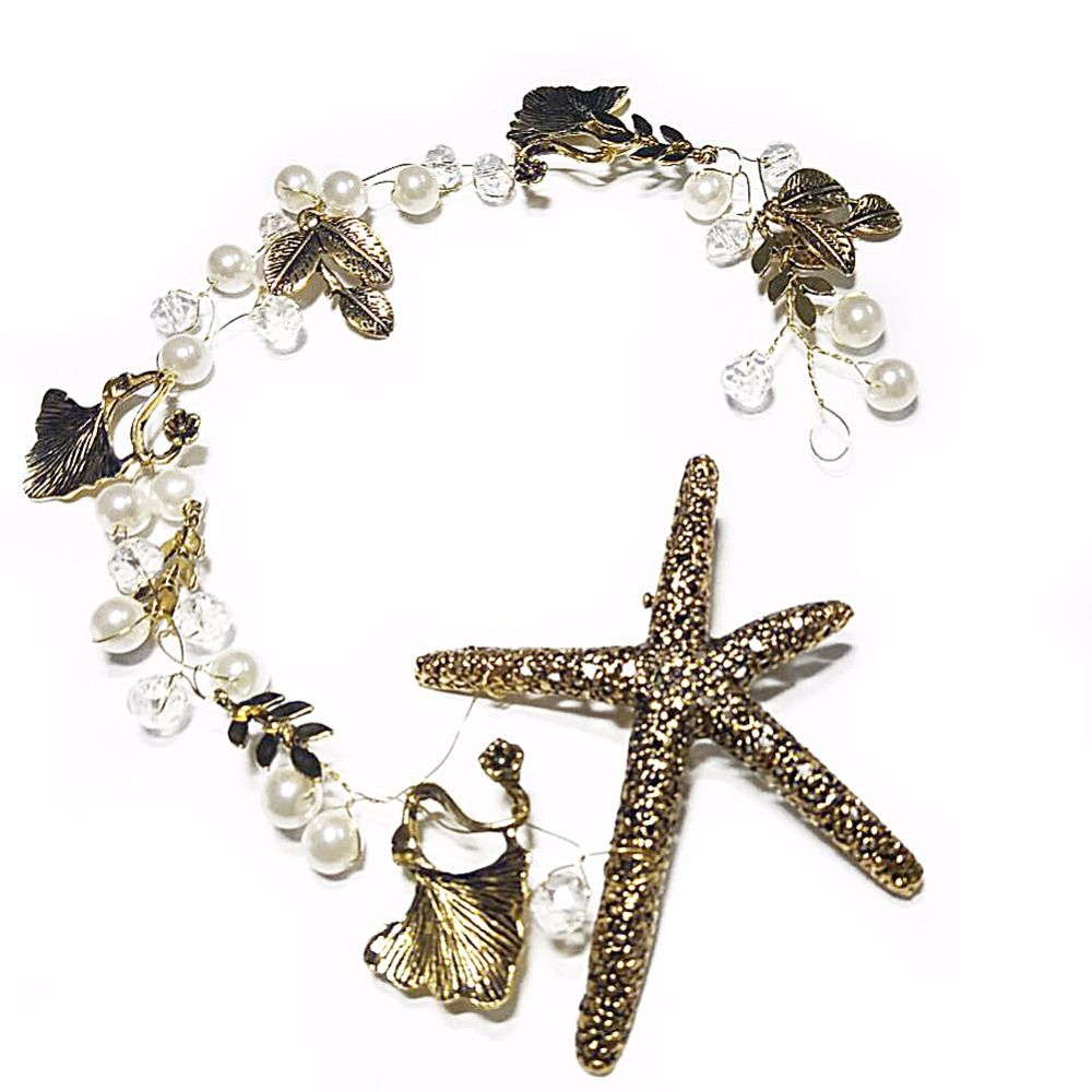 Click to buy ucuc women vintage starfish wedding hair crown