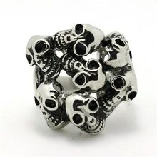 Mens Boys 316L Stainless Steel Cool Silver New Skull Link Evil Demon Skull Silver Ring Factory Price(China (Mainland))