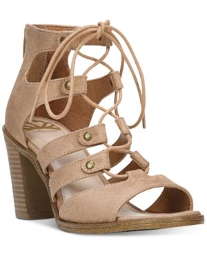 Fergalicious Mambo Lace-Up Block-Heel Sandals - Brown 6.5M