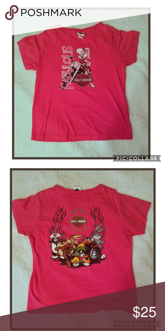 4e18a9de Women's Harley Davidson Hot Pink Tee Shirt is in great condition. Tag says  Large but
