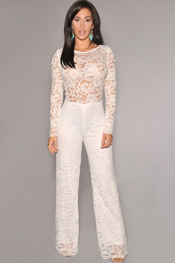 00af63aef99a Lace jumpsuit with lining - Long sleeve - Peep-hole on upper back - In  X-Small Only