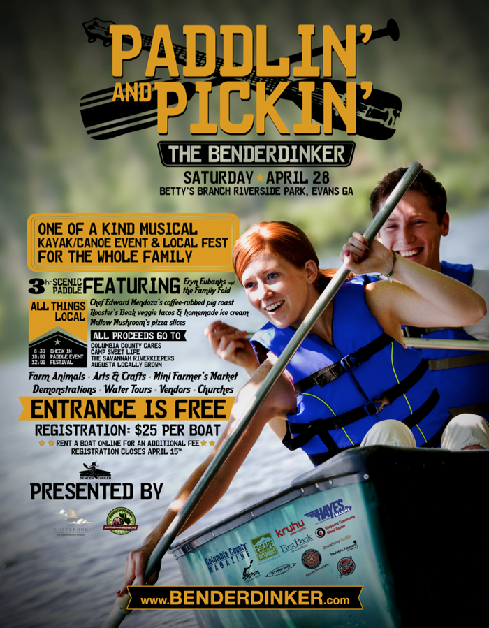 Benderdinker Paddle Event Kayak Canoe Bluegrass Kayaking Riverside Park Event Poster
