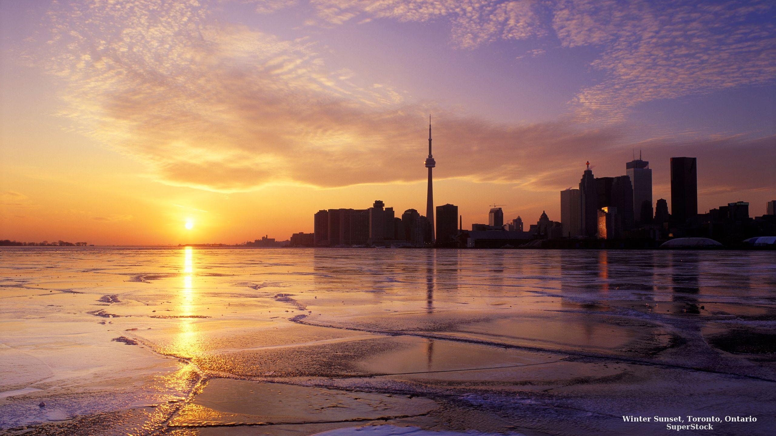 Pôr do sol de inverno, Toronto, Ontario