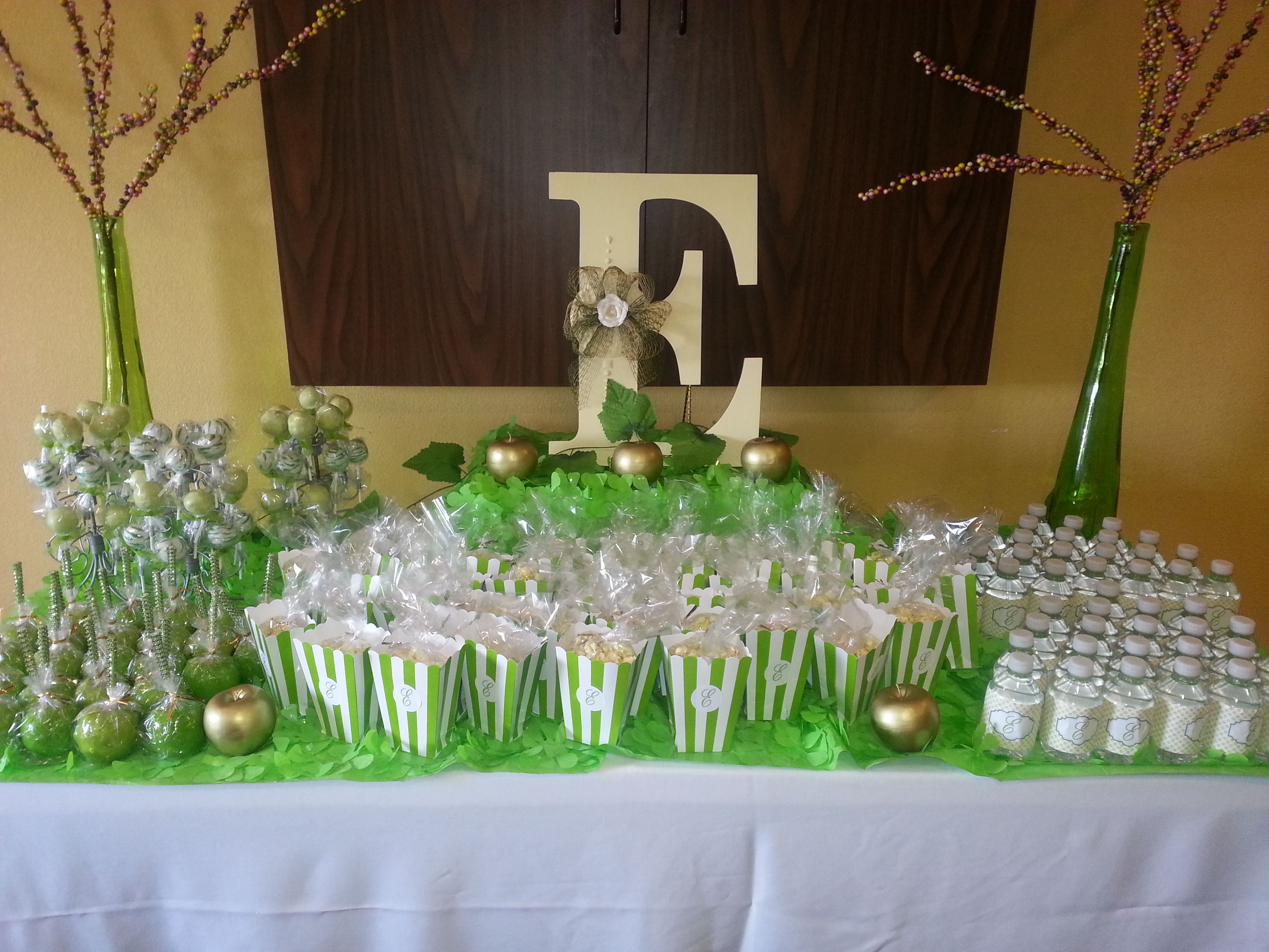 Custom party stacks! Garden of Eden theme baby shower | Baby ...