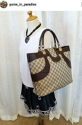 112681dc2c1 Vintage Gucci Tote Shopper Bag Extra Large Big GG Monogram Authentic Rare  70 s