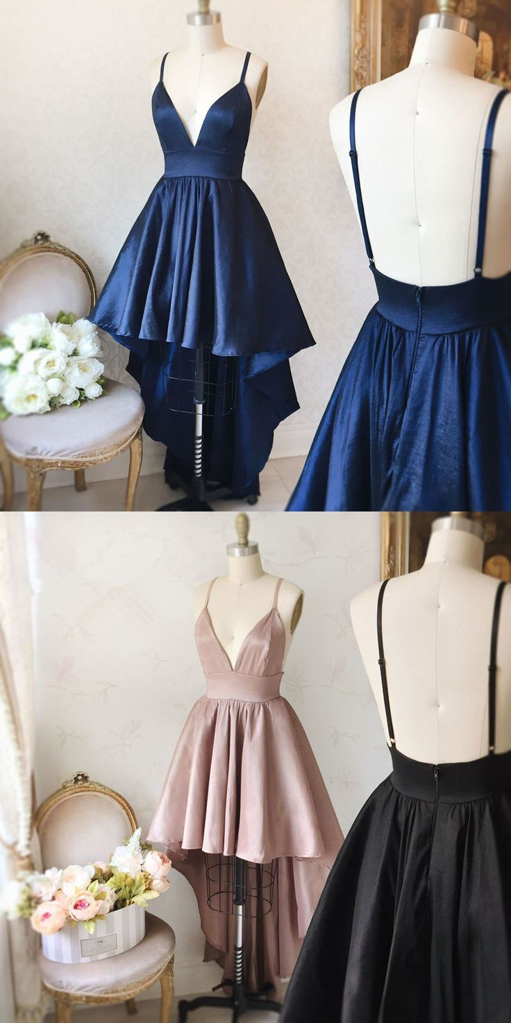 Straps high low navy blue prom dress homecoming dress navy