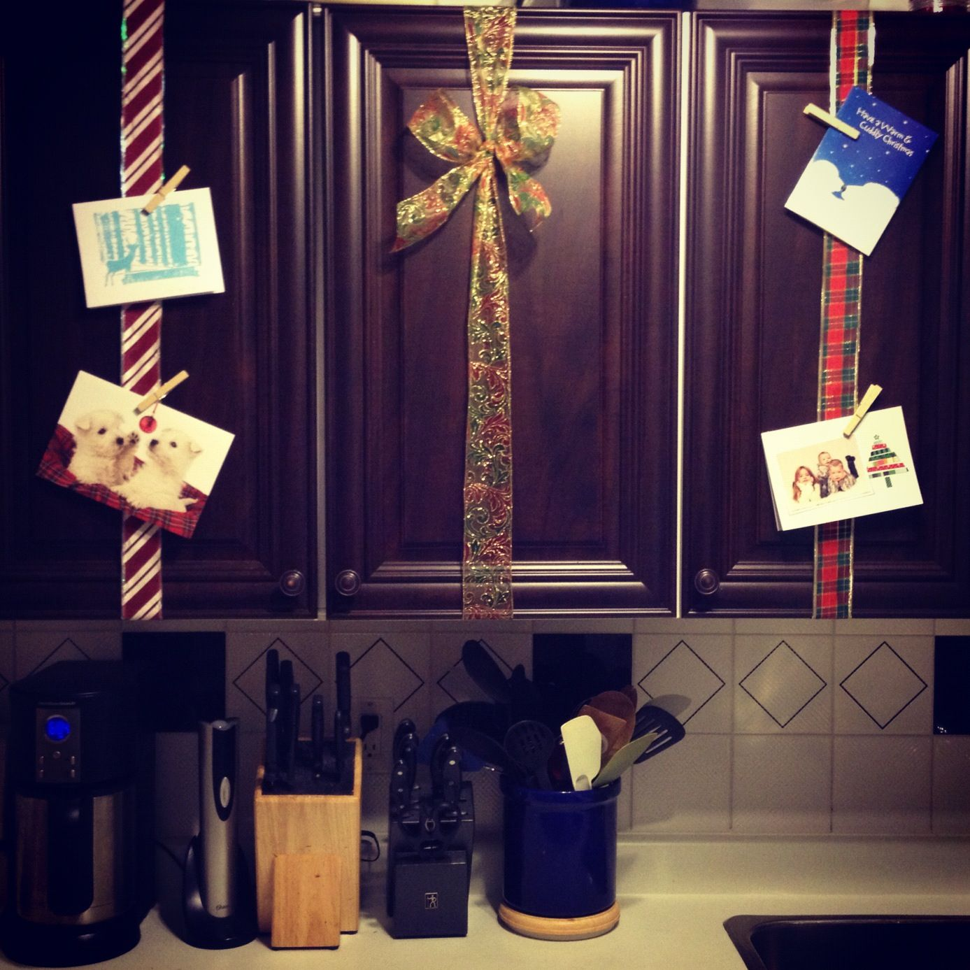 Christmas Card Display On Kitchen Cabinets With Ribbon  Anneu0027s Pinterest  Copy Attempt!