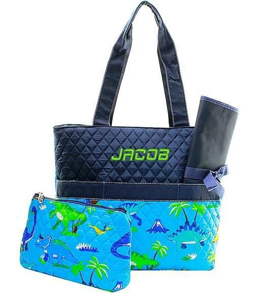 Personalized Dinosaur Quilted 3pc Diaper Bag Navy Aqua