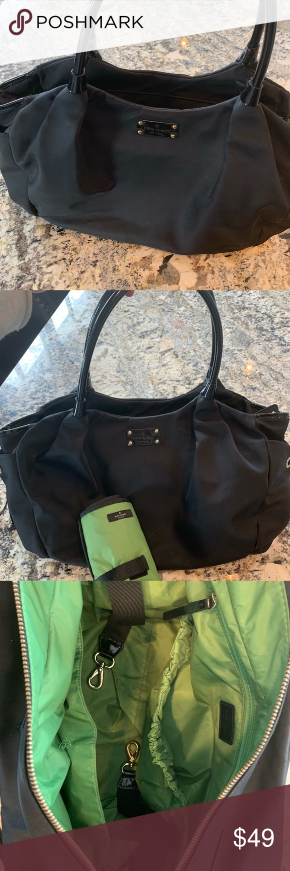 f7c7f289dd24 Kate Spade Black Stevie Diaper Bag w/ Changing pad Kate Spade Black diaper  bag with
