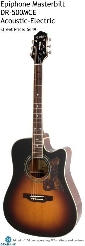 Epiphone Masterbilt DR-500MCE.  It comes with an all solid wood construction and a look which harks back to their early Masterbilt guitars which they first released in the early 1930s. It's one of the highest rated acoustic-electric guitars between $500 and $1000.