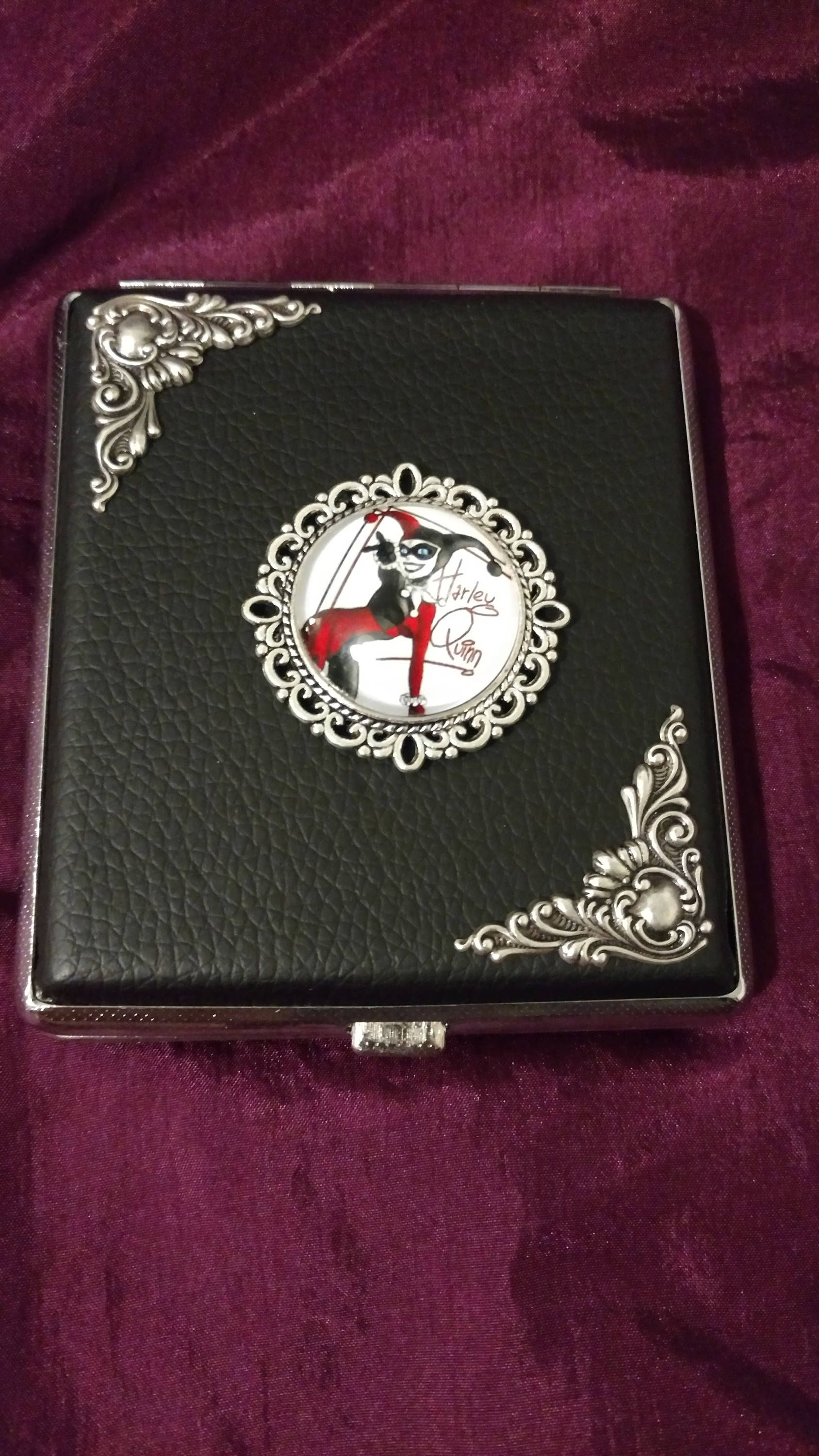 Joker girl with silver edging Faux Leather cigarette case / wallet ...