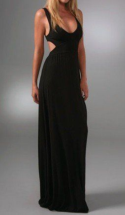 Black Sleeveless Cut Out Maxi Dress with Low Neckline