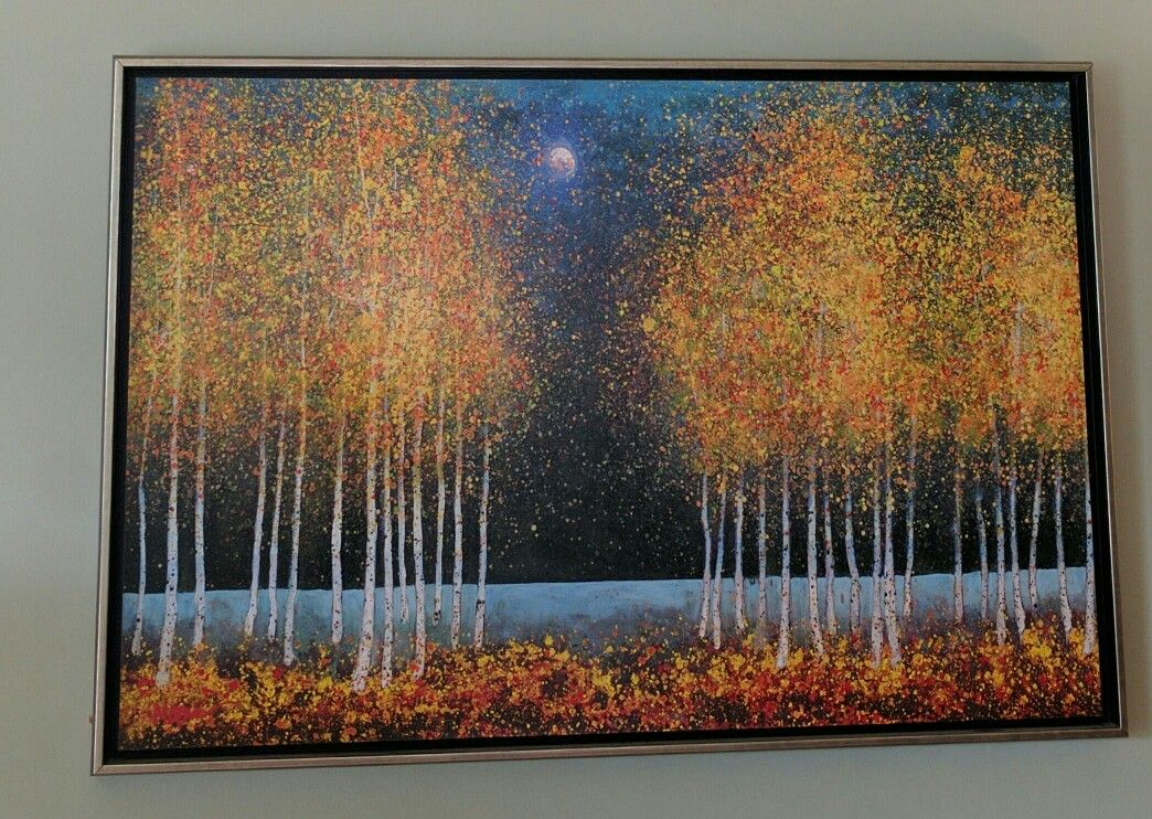 Living room painting. Love the moonlight glowing and the open space--for hearing the Spirit.