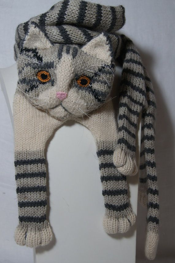 Tabby Gray Cat Scarf Knitting Scarf Gray Scarf Cowl Scarf Long Scarf ...
