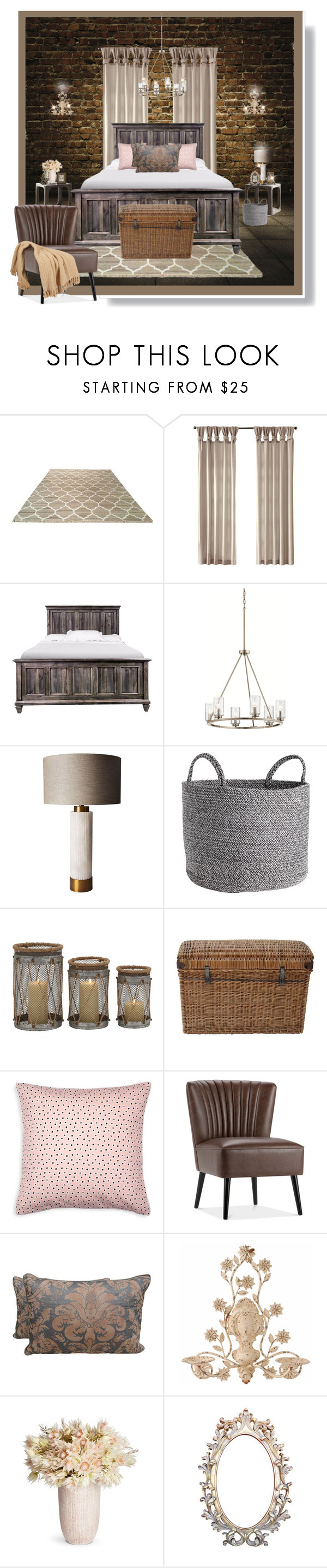 """""""Dark Walls and Bricks"""" by beleev ❤ liked on Polyvore featuring interior, interiors, interior design, home, home decor, interior decorating, WALL, Riverside Furniture, Kichler and Madura"""
