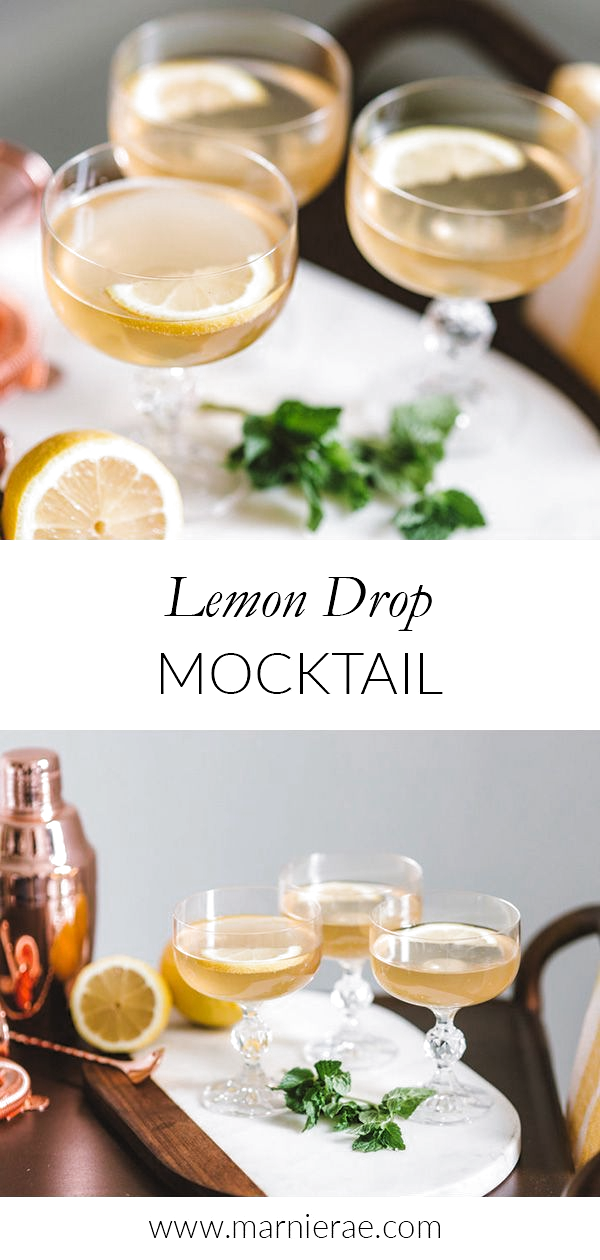 This sweet lemon drop mocktail is ideal for spring and summer parties. Made with lemon, vanilla, and mint, this nonalcoholic drink is easy to make in a batch. Mix up this summer drink for bridal showers or baby showers to provide an alcohol-free drink all your guests can enjoy. | Marnie Rae || #nonalcoholicsummerdrinks