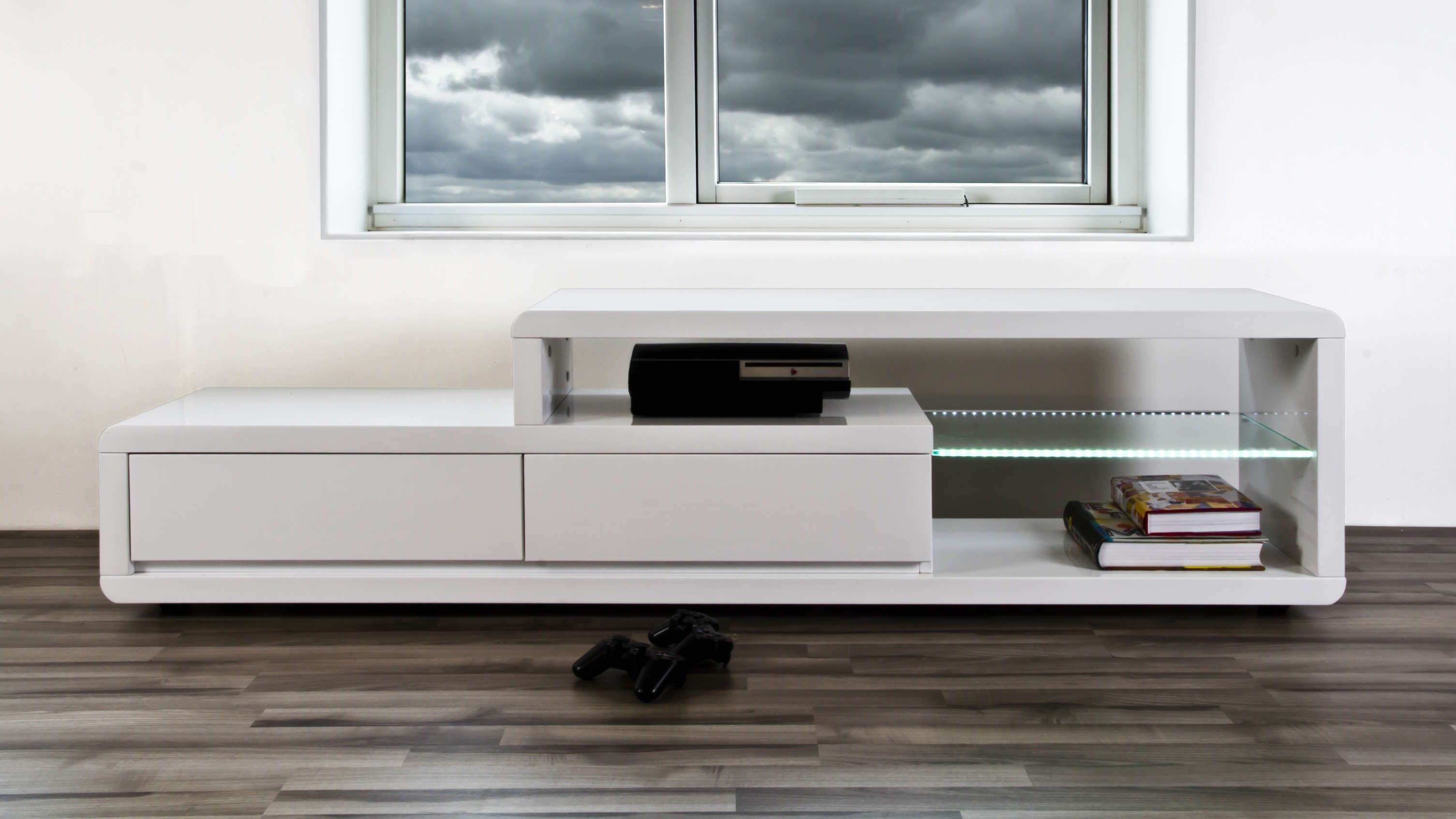 Best Alessia White Gloss Tv Table Tv Console Design Wall 400 x 300
