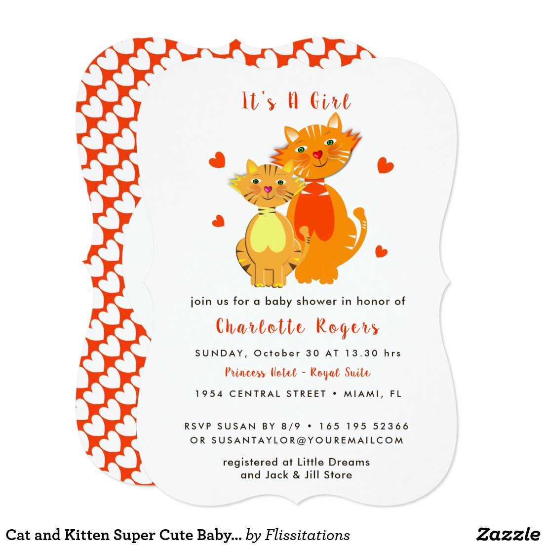 Cat And Kitten Super Cute Baby Shower Invite Sweet Adorable Mother And Baby Cats And Love Hear Baby Shower Invites For Girl Baby Shower Invitations Invitations