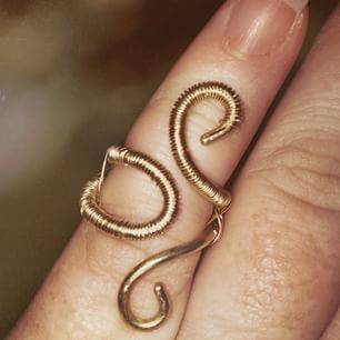A brass wire wrapped ring I made with 18 and 28 gauge wire for a ...