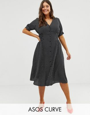 7b9bf6f974c ASOS DESIGN Curve button through midi tea dress with shirred waist in spot  print