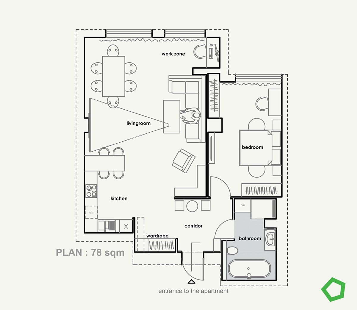 Relaxing Color Schemes In 3 Efficient Single Bedroom Apartments With Floor Plans Relaxing Color Schemes How To Plan Apartment Floor Plans