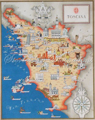 Tuscany Italy Antique Map of Tuscany by StoriesDivinations ...