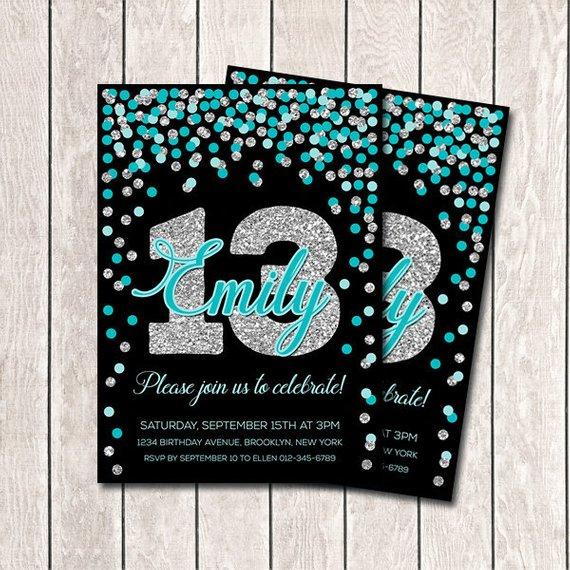 13th Birthday Invitation Printable Teal And Silver Confetti Black Invite Girl