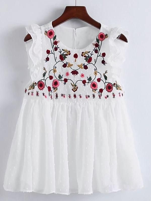 5b81d502e1ba8 Flower Embroidery Pleated Hem Ruffle Trim Top White in 2019