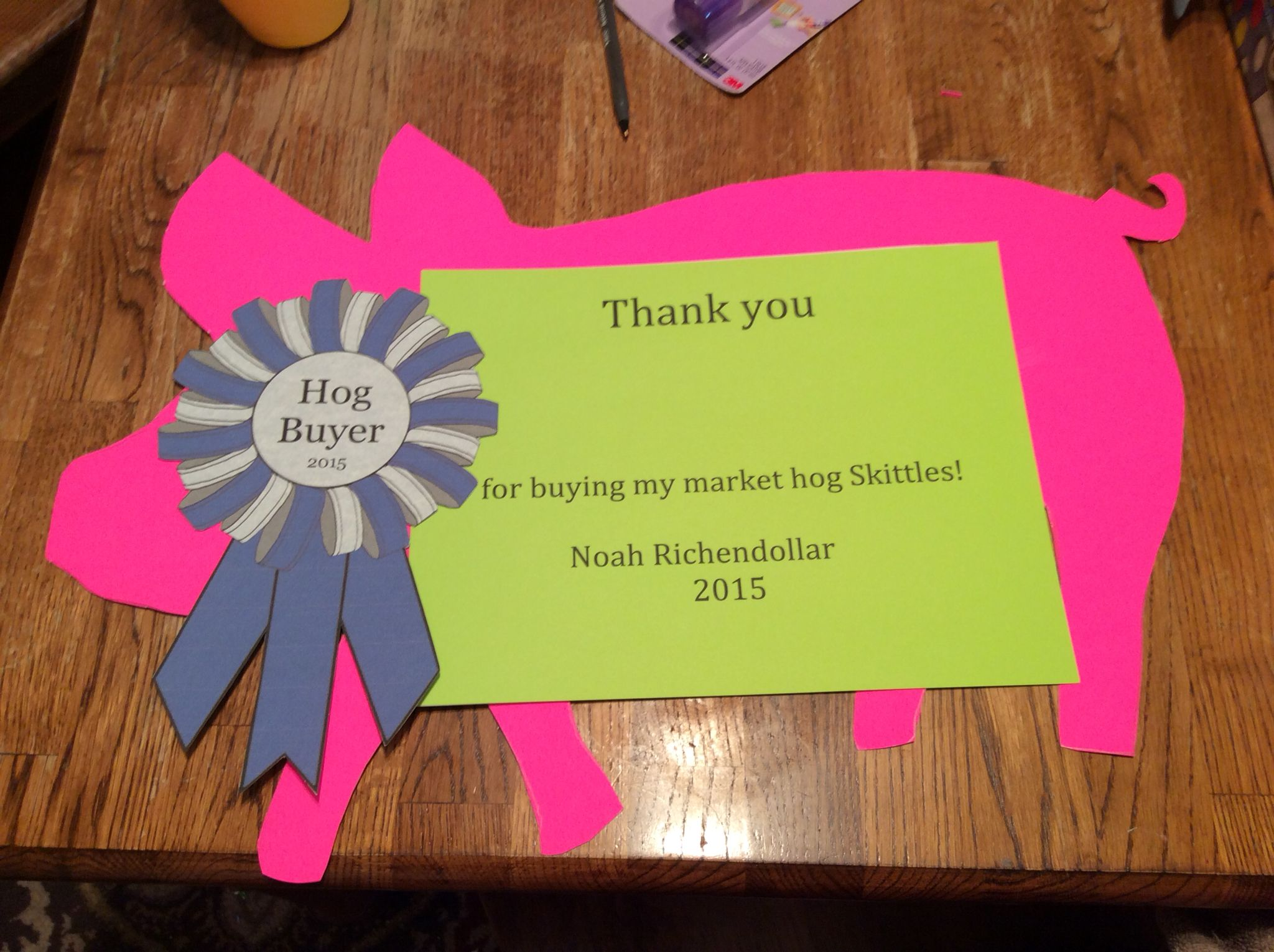 Market Hog Buyer Thank You Poster Showin Cows Pig Showing