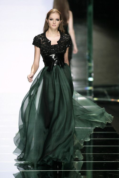c033fb26a584 Dark green dress and black.... Art... Beautiful Flow... Beautiful Design...  Kind of a belted corset look in the middle.