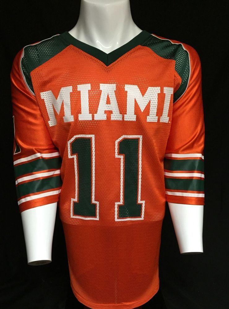 buy popular 997be b98d1 Miami Hurricanes Orange Green XXL Colosseum #11 Jersey 2XL ...